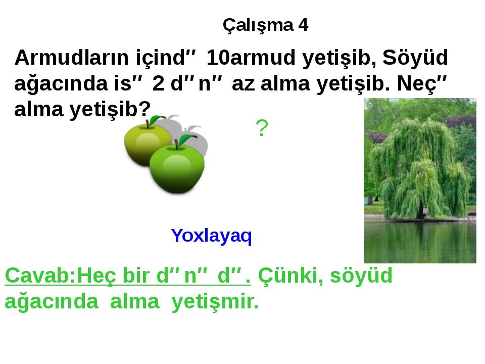 Çalışma 4 Armudların içində 10armud yetişib, Söyüd ağacında isə 2 dənə az alm...