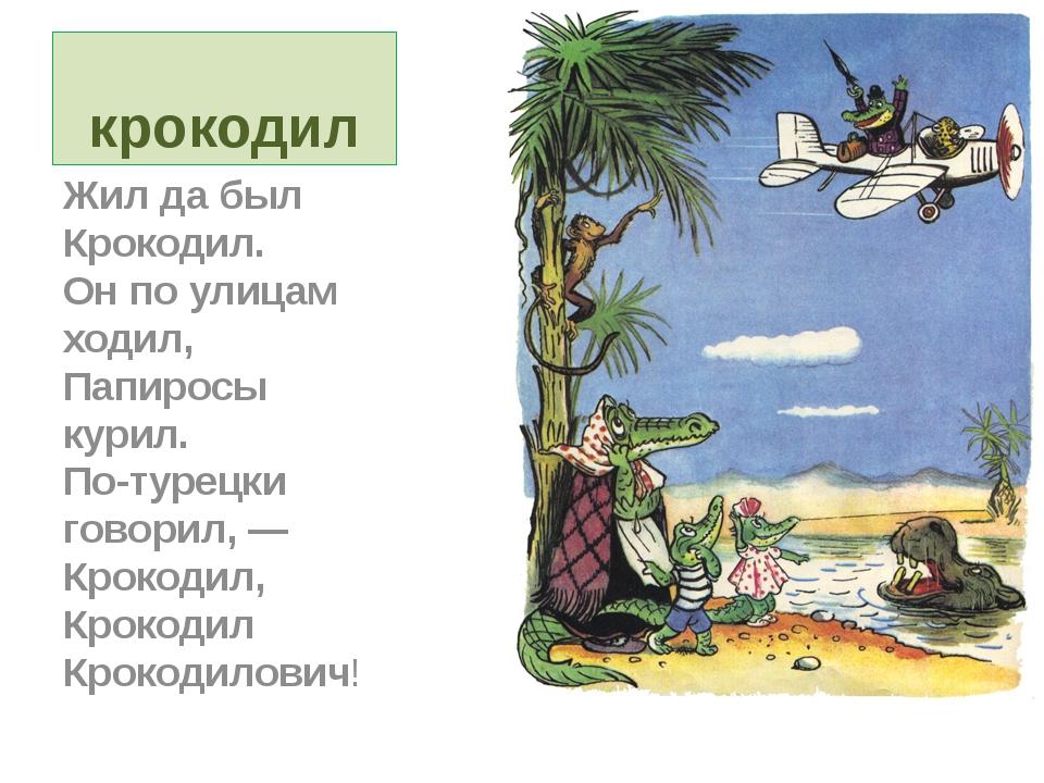 крокодил Жил да был Крокодил. Он по улицам ходил, Папиросы курил. По-турецки...