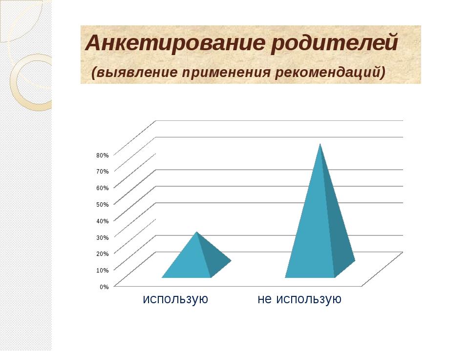 Анкетирование родителей (выявление применения рекомендаций)