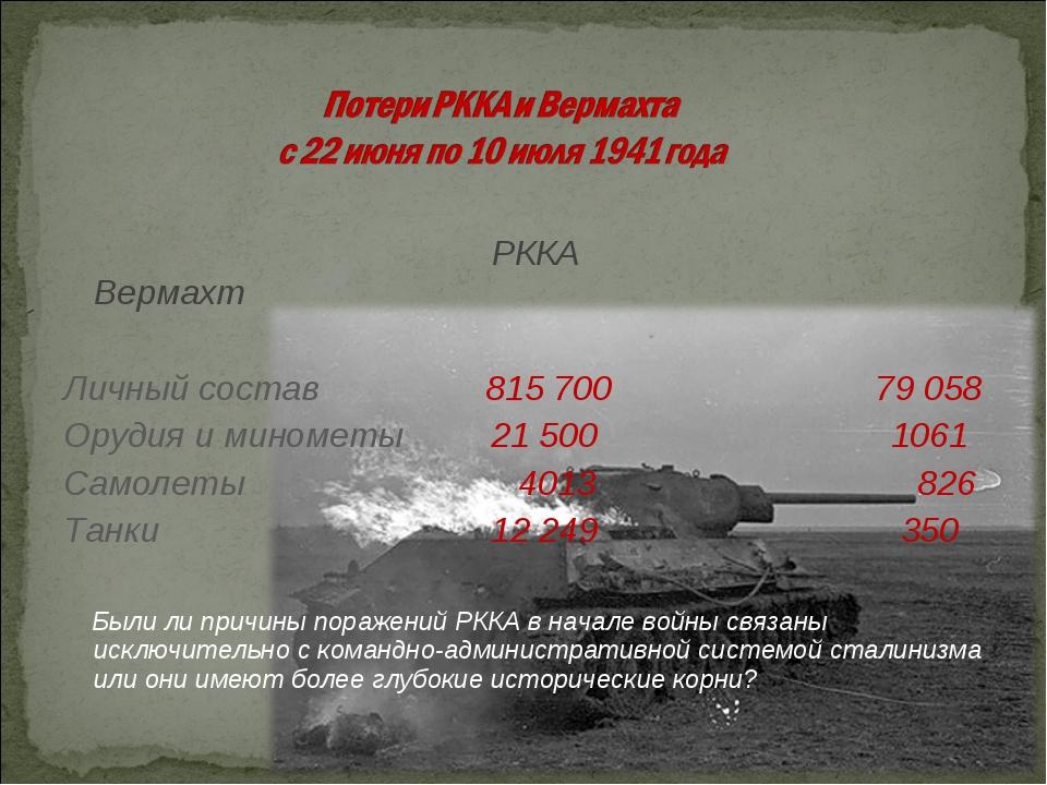 РККА Вермахт Личный состав 815 700 79 058 Орудия и минометы 21 500 1061 Само...