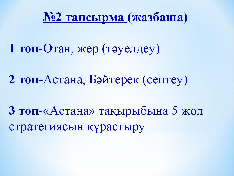 №2 тапсырма (жазбаша) 1 топ-Отан, жер (тәуелдеу) 2 топ-Астана, Бәйтерек (септ...