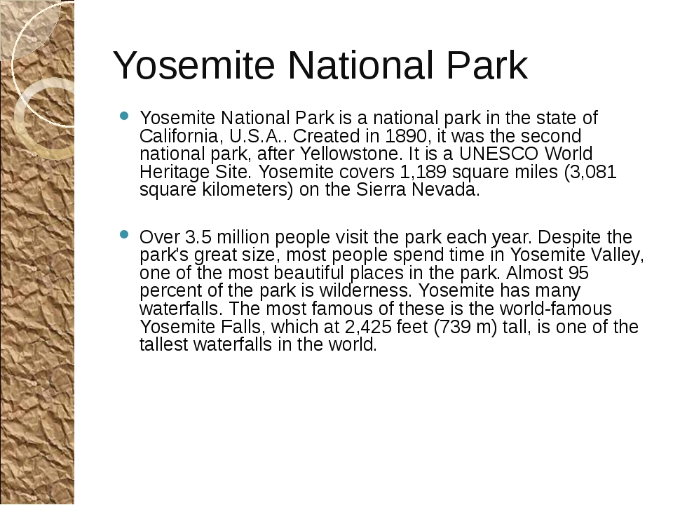 Yosemite National Park Yosemite National Park is a national park in the state...