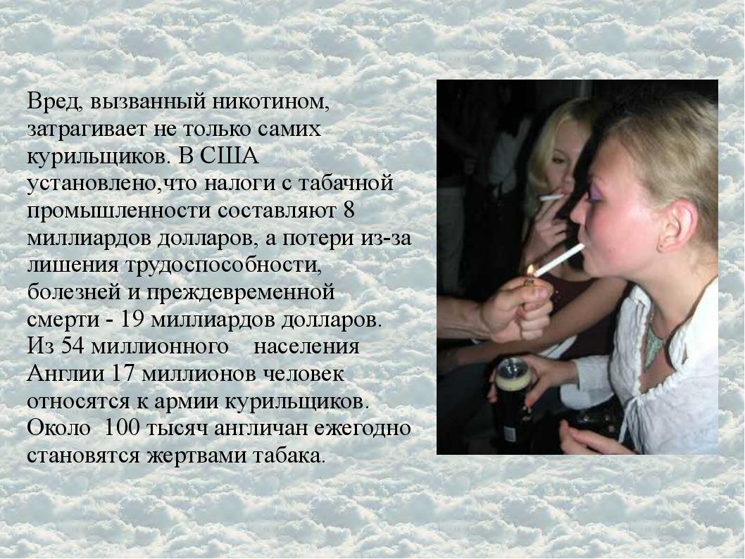 Вред, вызванный никотином, затрагивает не только самих курильщиков. В США уст...