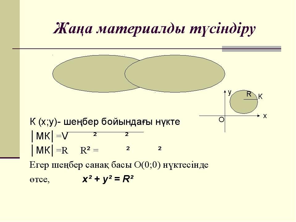 Жаңа материалды түсіндіру М (х̥ ;у̥ )- центрі К (х;у)- шеңбер бойындағы нүкте...
