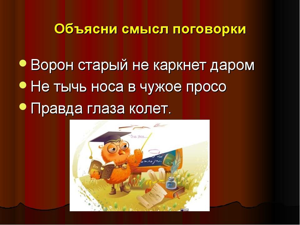 Объясни смысл поговорки Ворон старый не каркнет даром Не тычь носа в чужое пр...