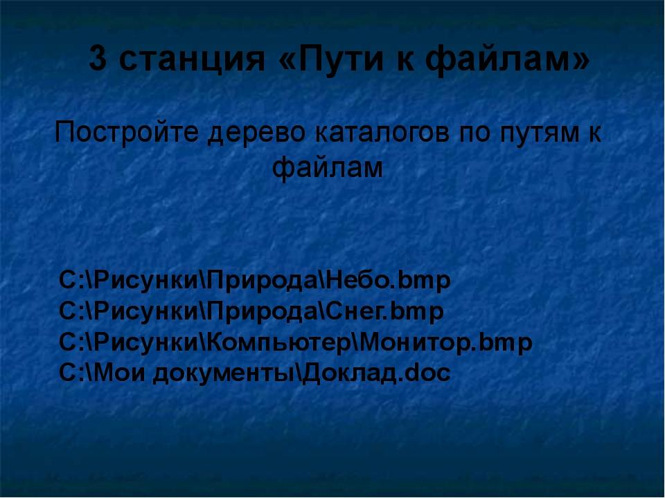 Постройте дерево каталогов по путям к файлам 3 станция «Пути к файлам» C:\Рис...