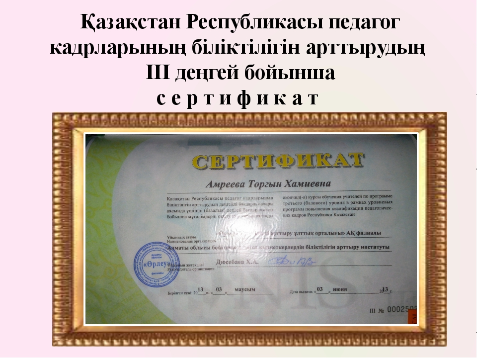 Қазақстан Республикасы педагог кадрларының біліктілігін арттырудың ІІІ деңгей...