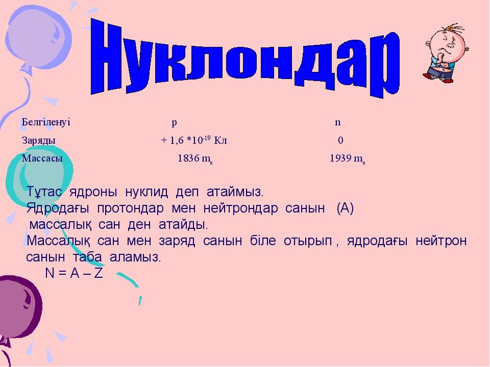 Тұтас ядроны нуклид деп атаймыз. Ядродағы протондар мен нейтрондар санын (А)...