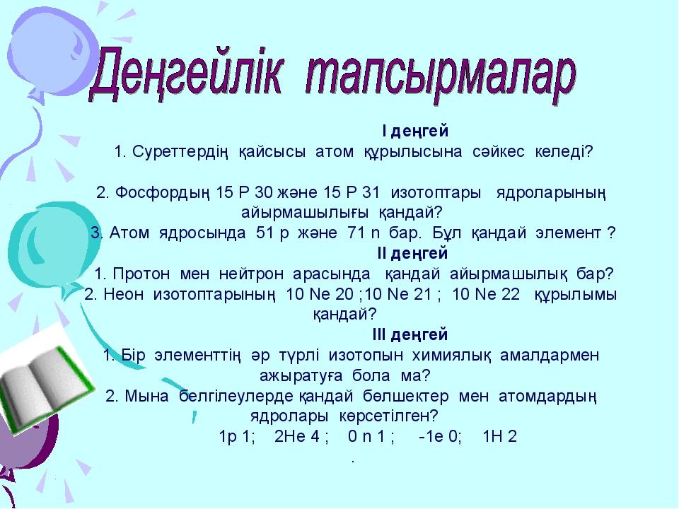 І деңгей 1. Суреттердің қайсысы атом құрылысына сәйкес келеді? 2. Фосфордың...