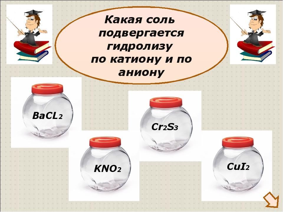 Какая соль подвергается гидролизу по катиону и по аниону ВаCL2 KNO2 Cr2S3 CuI2
