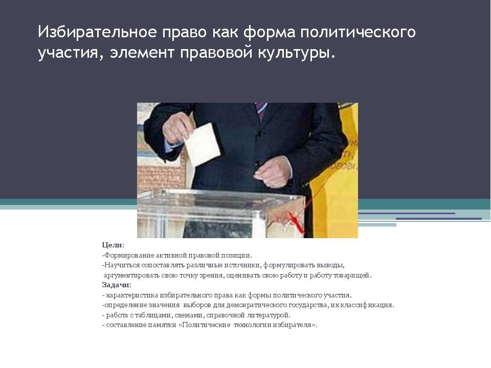 Избирательное право как форма политического участия, элемент правовой культур...