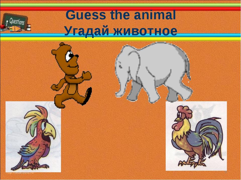 Guess the animal Угадай животное * *