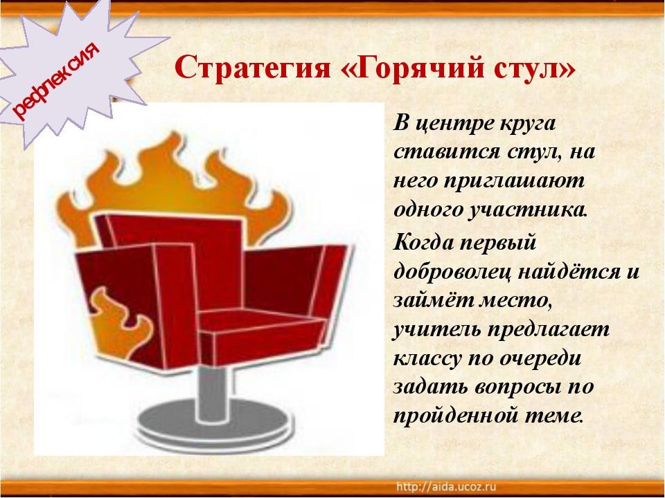 Стратегия «Горячий стул» В центре круга ставится стул, на него приглашают од...