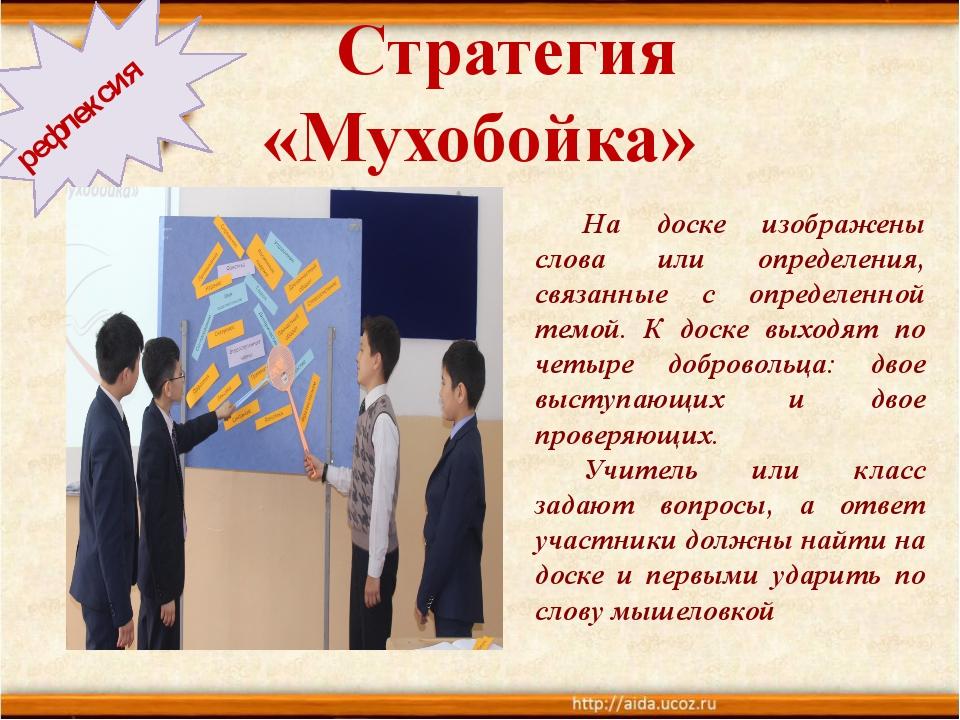 Стратегия «Мухобойка» рефлексия На доске изображены слова или определения,...