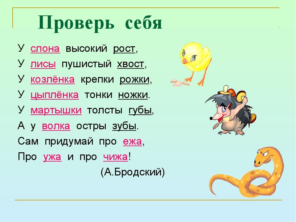Проверь себя У слона высокий рост, У лисы пушистый хвост, У козлёнка крепки р...
