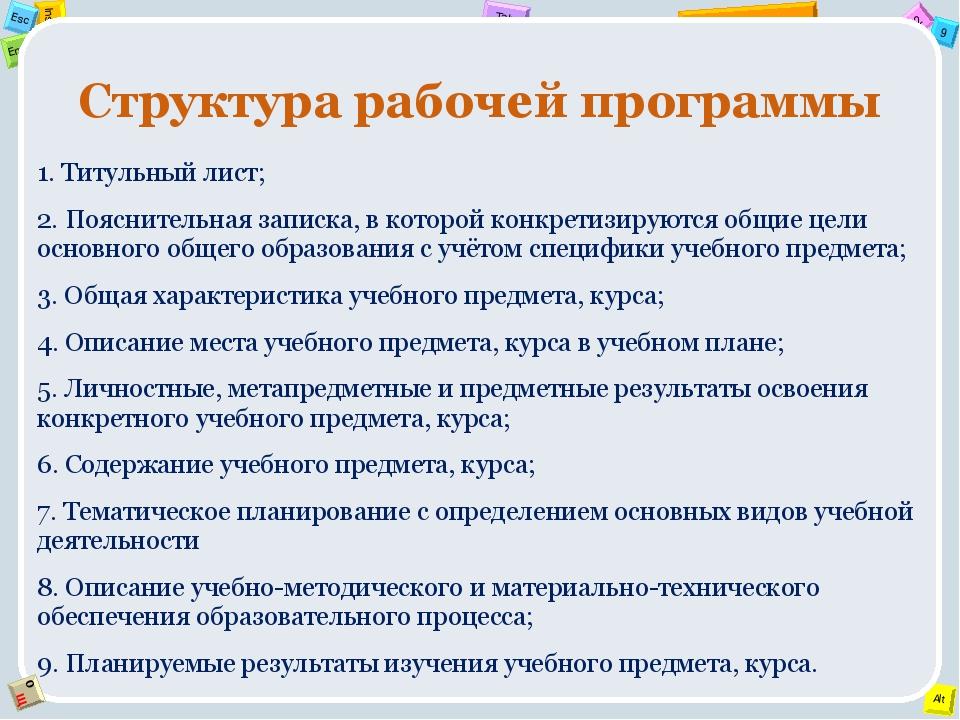Структура рабочей программы 1. Титульный лист; 2. Пояснительная записка, в ко...