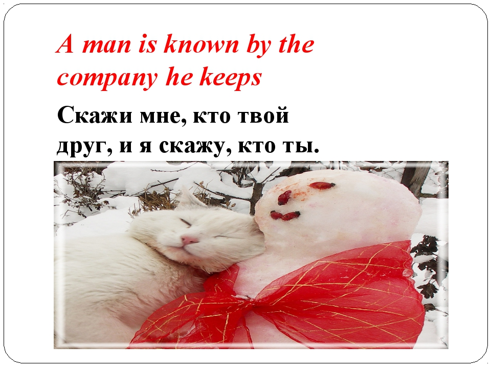 A man is known by the company he keeps Скажи мне, кто твой друг, и я скажу, к...