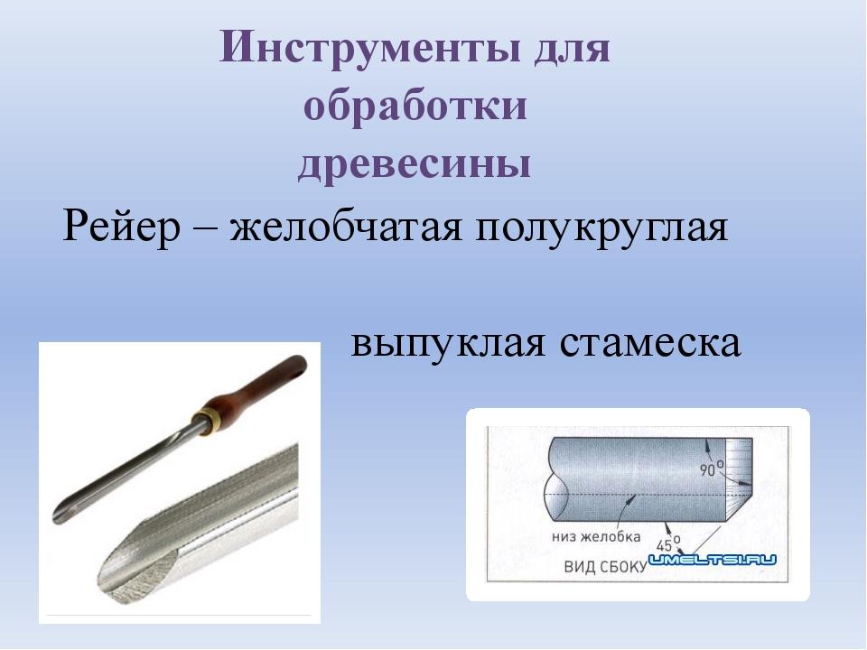 Инструменты для обработки древесины Рейер – желобчатая полукруглая выпуклая с...
