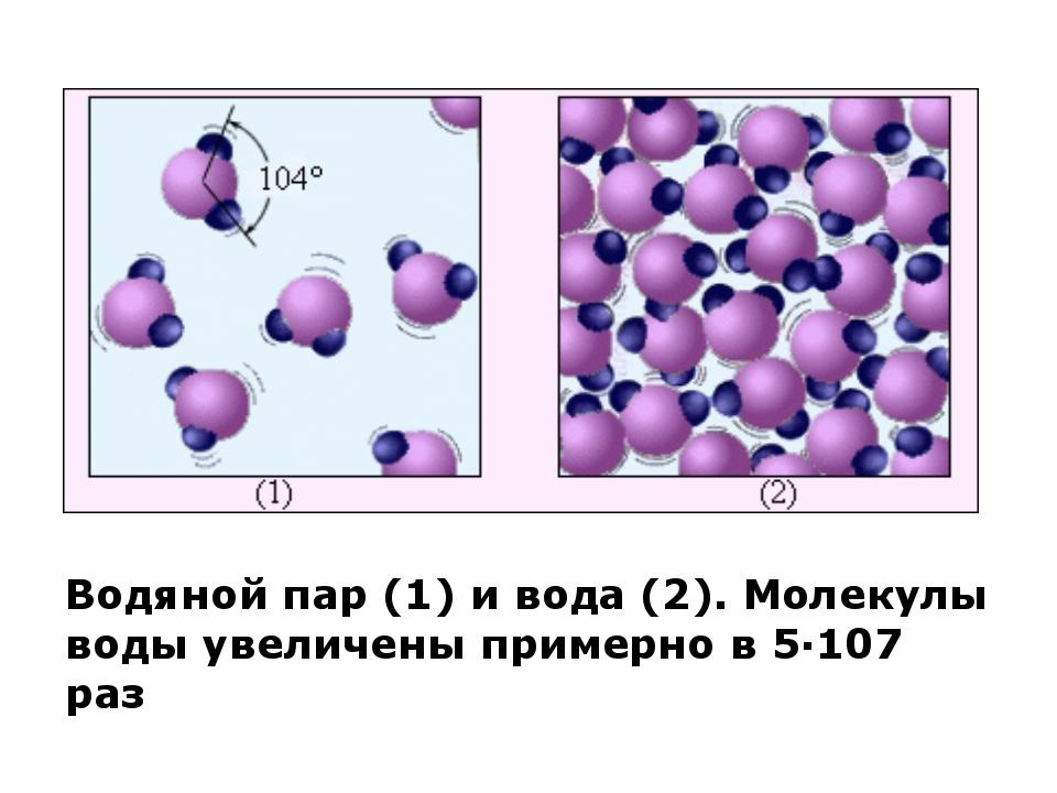 Водяной пар (1) и вода (2). Молекулы воды увеличены примерно в 5·107 раз