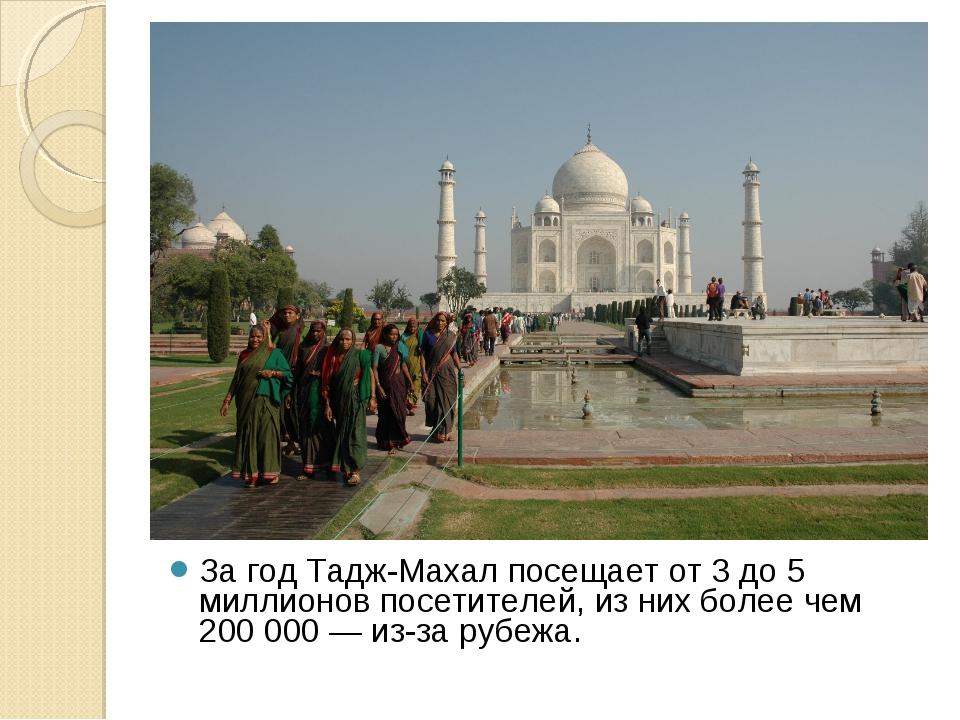 За год Тадж-Махал посещает от 3 до 5 миллионов посетителей, из них более чем...
