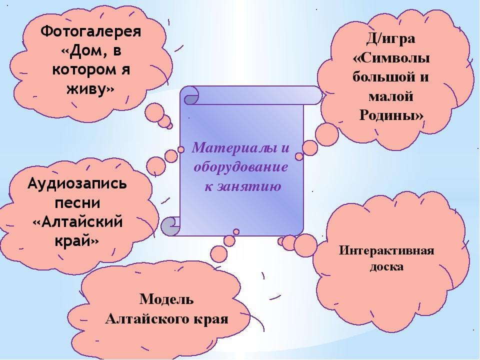 Материалы и оборудование к занятию Интерактивная доска Модель Алтайского кр...