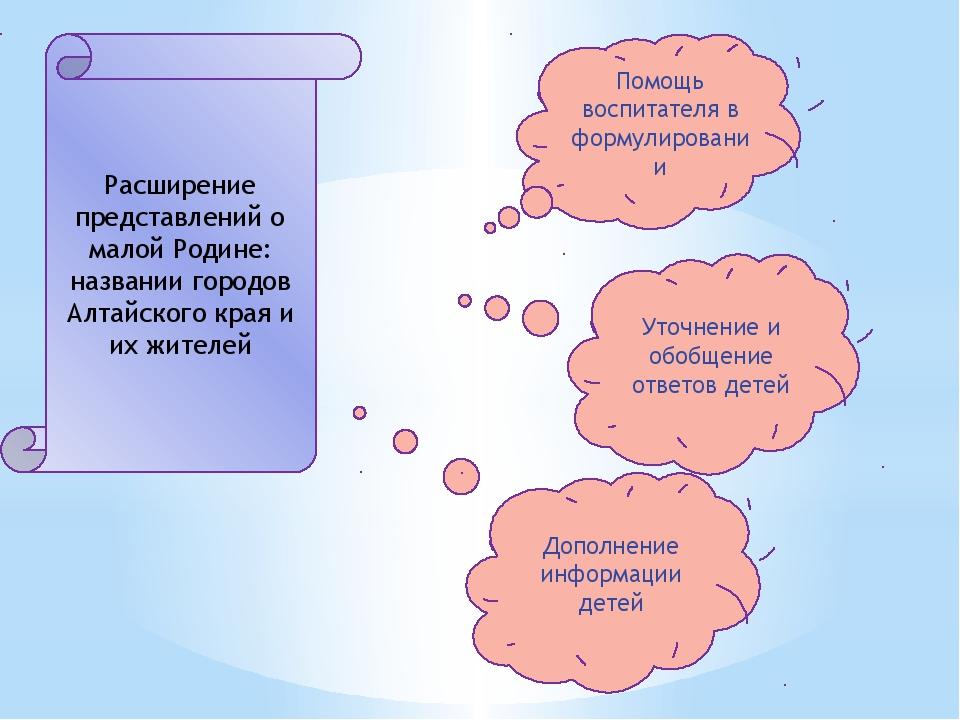 Расширение представлений о малой Родине: названии городов Алтайского края и...
