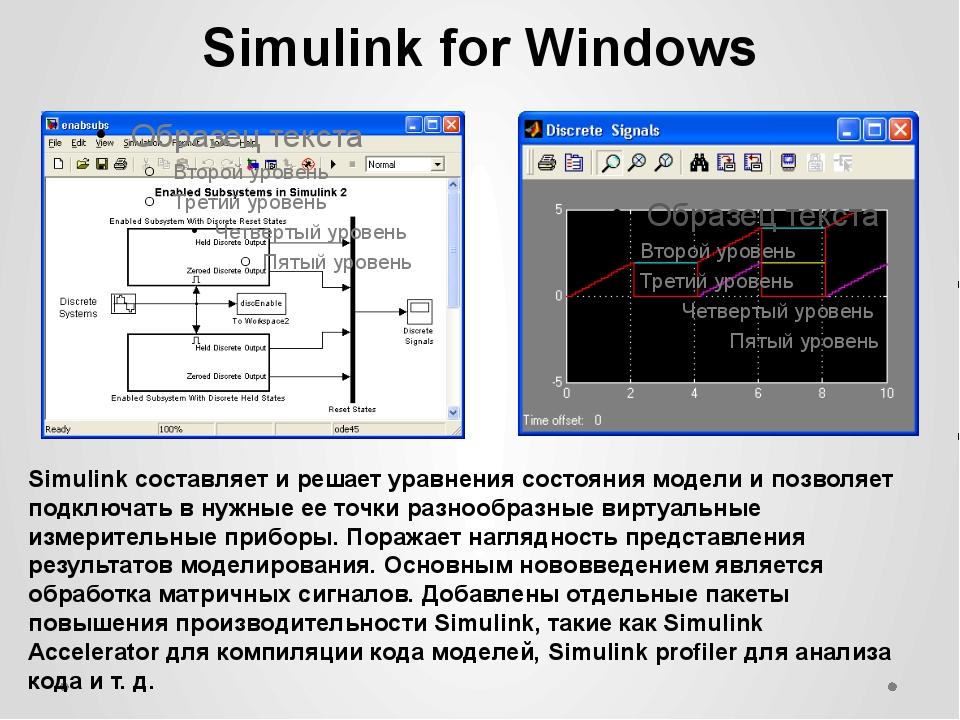 Simulink for Windows Simulink составляет и решает уравнения состояния модели...