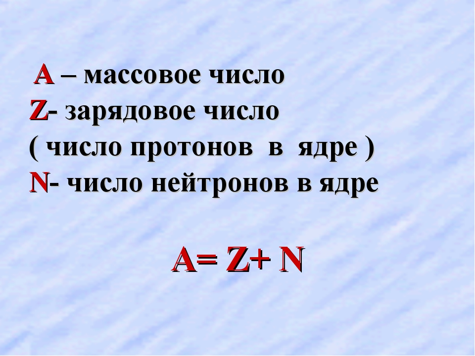 А – массовое число Z- зарядовое число ( число протонов в ядре ) N- число ней...