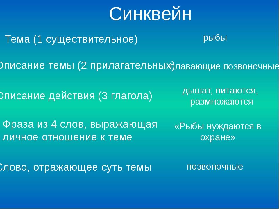 Тема (1 существительное) Описание темы (2 прилагательных) Описание действия...