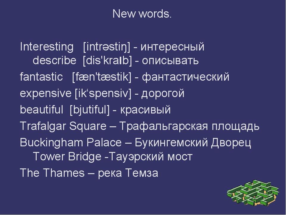 New words. Interesting [intrәstiŋ] - интересный describe [dis'kralb] - описы...
