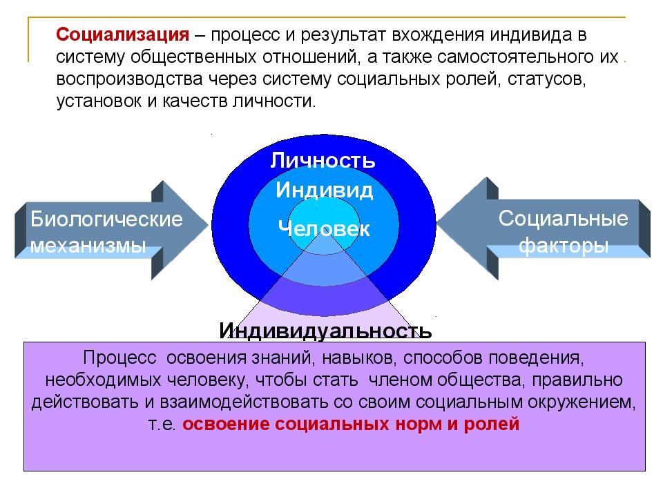 Социализация – процесс и результат вхождения индивида в систему общественных...