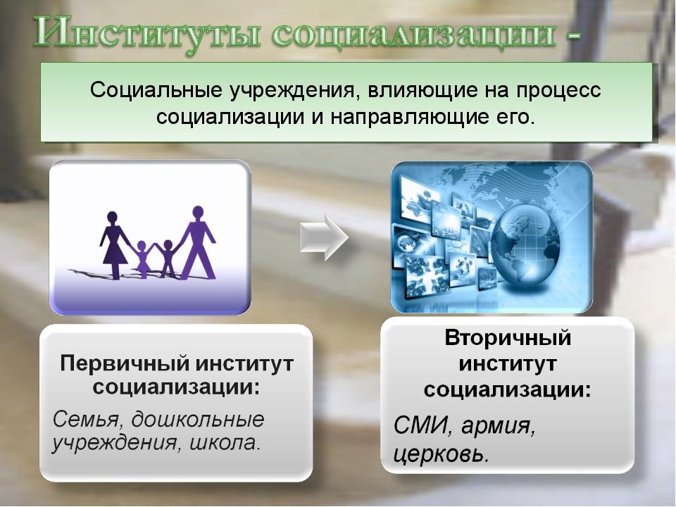 Социальные учреждения, влияющие на процесс социализации и направляющие его.