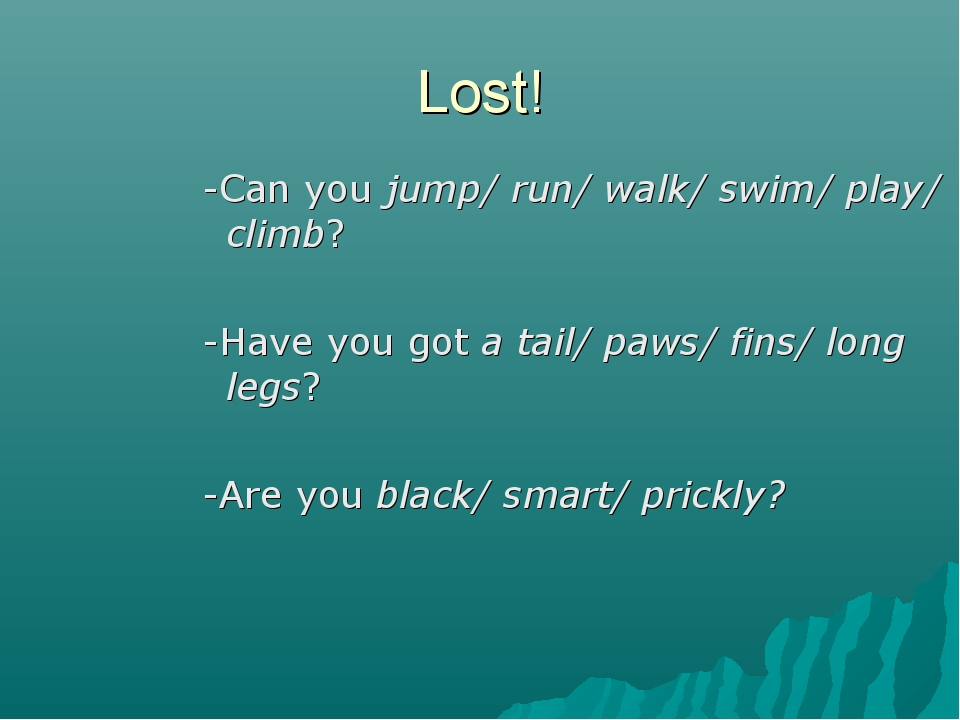 Lost! -Can you jump/ run/ walk/ swim/ play/ climb? -Have you got a tail/ paws...