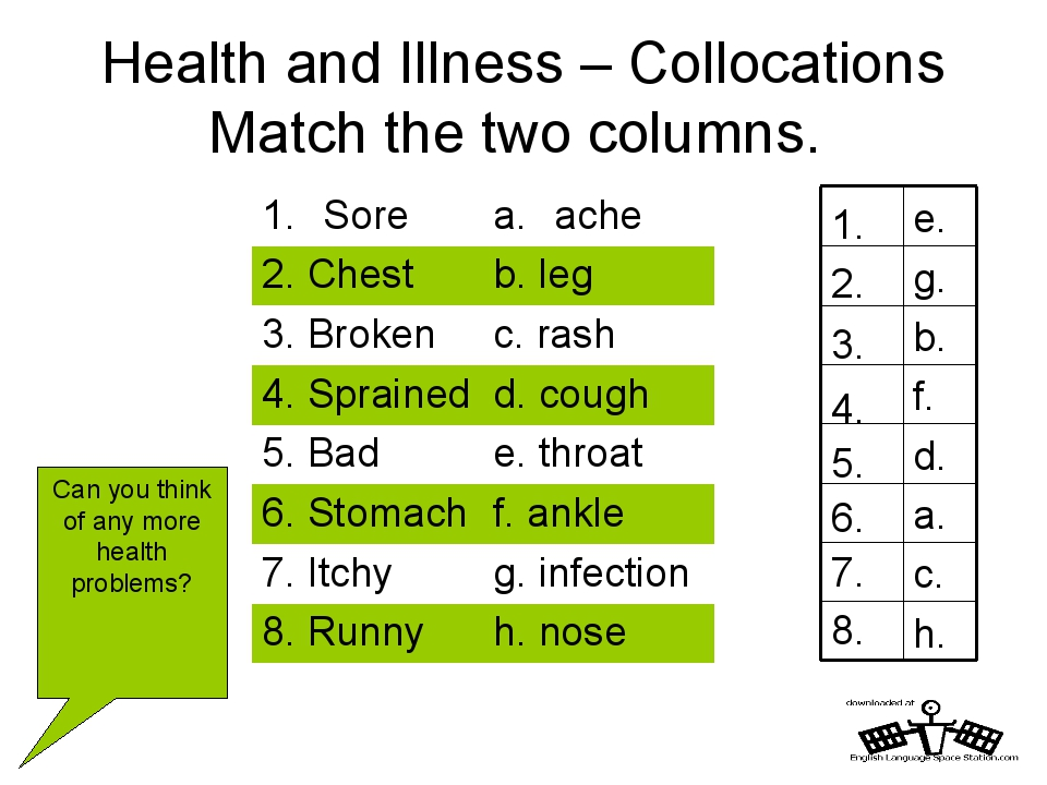 Health and Illness – Collocations Match the two columns. h. 8. c. 7. a. 6. d....
