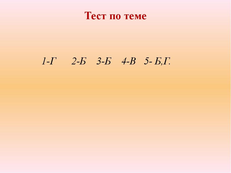 Тест по теме 1-Г 2-Б 3-Б 4-В 5- Б,Г.