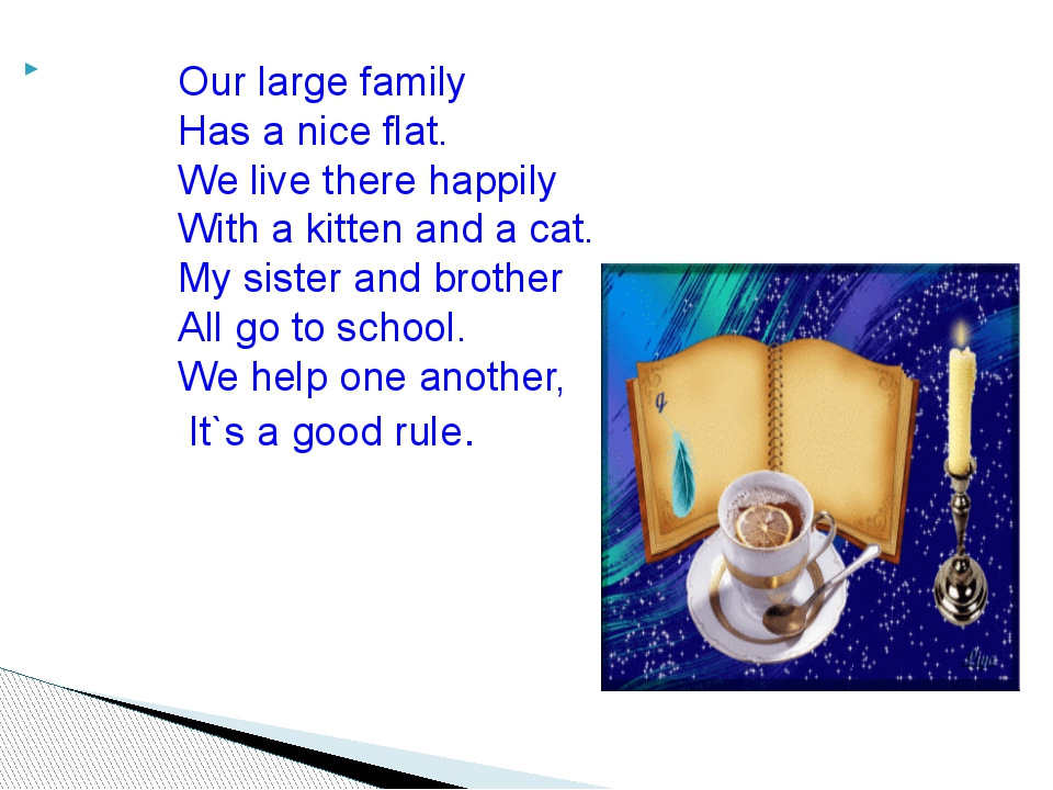 Our large family Has a nice flat. We live there happily With a kitten and a c...