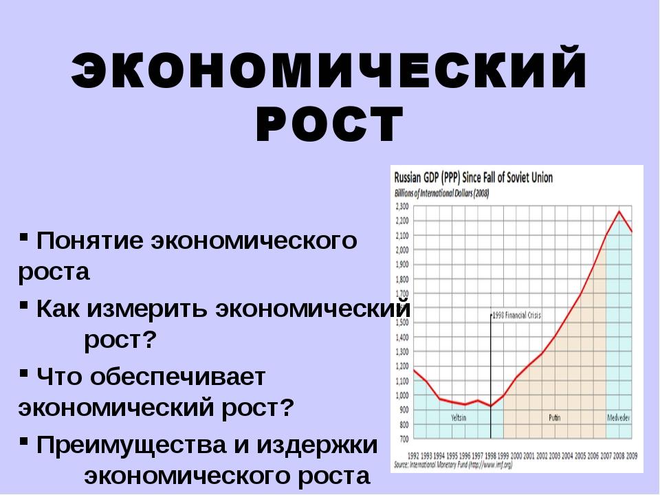 ЭКОНОМИЧЕСКИЙ РОСТ Понятие экономического роста Как измерить экономический р...