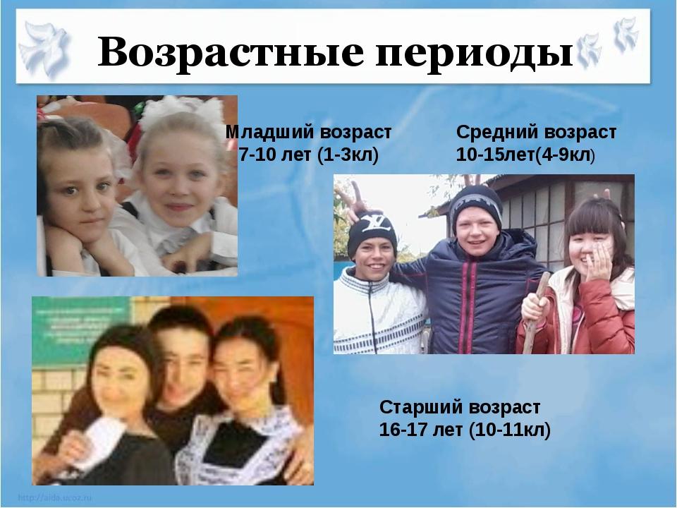 Возрастные периоды Младший возраст 7-10 лет (1-3кл) Средний возраст 10-15лет...