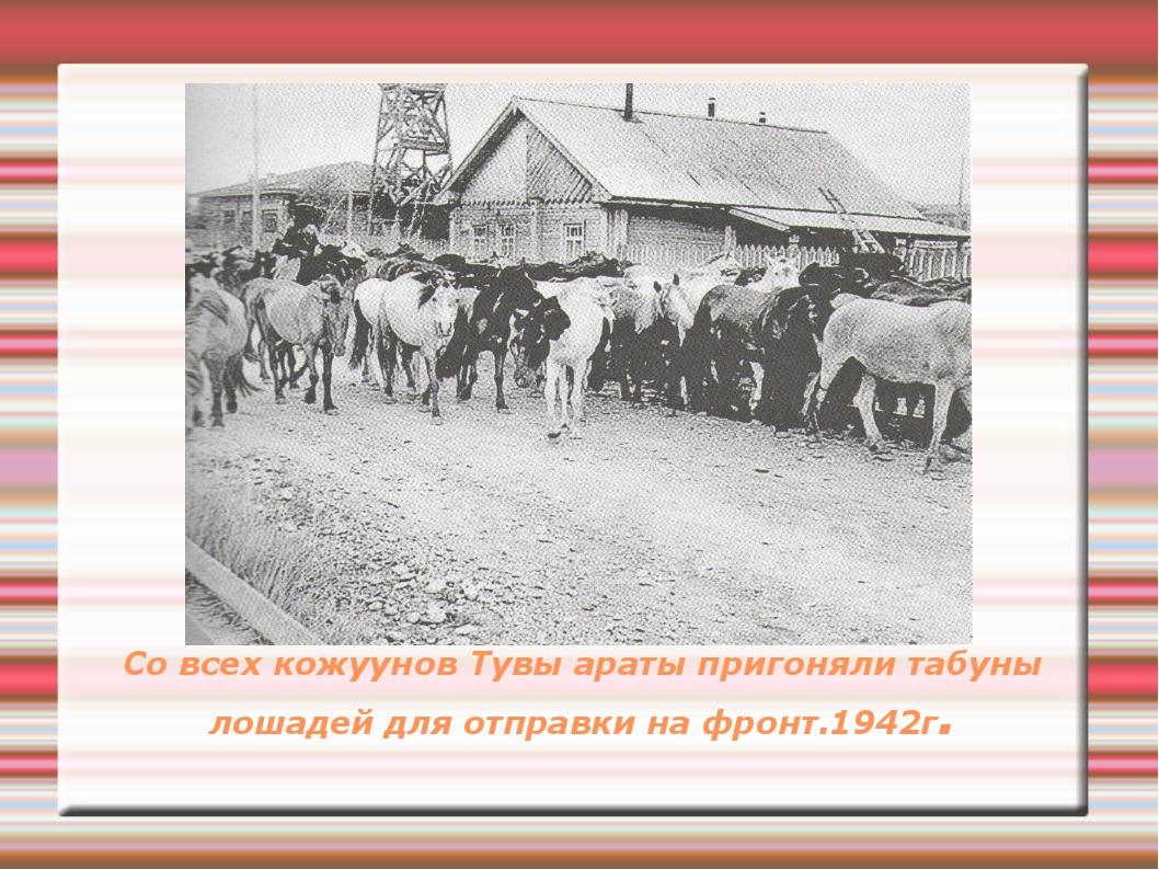 Со всех кожуунов Тувы араты пригоняли табуны лошадей для отправки на фронт.19...