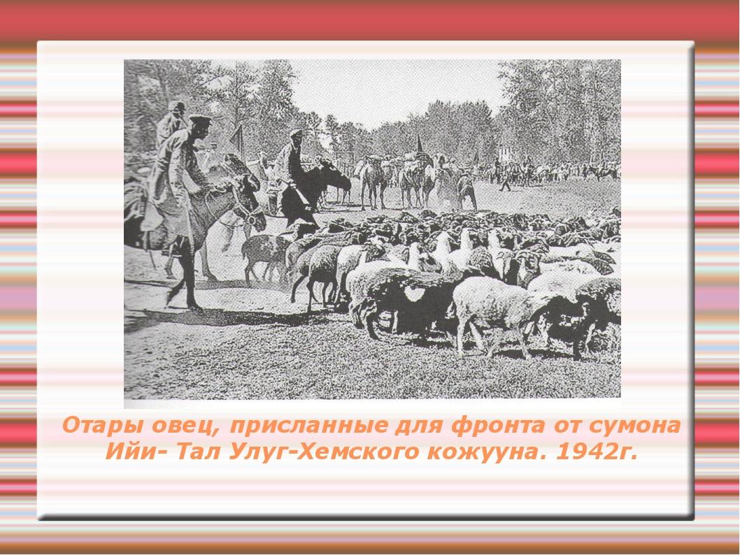 Отары овец, присланные для фронта от сумона Ийи- Тал Улуг-Хемского кожууна. 1...