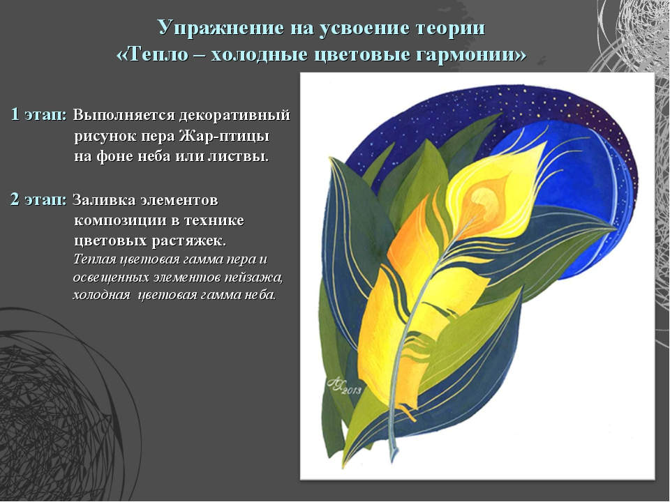 Упражнение на усвоение теории «Тепло – холодные цветовые гармонии» 1 этап: Вы...