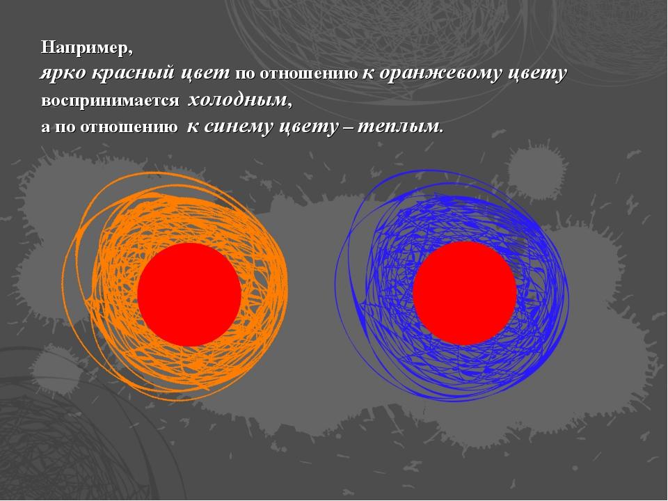 Например, ярко красный цвет по отношению к оранжевому цвету воспринимается хо...
