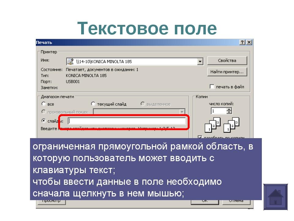 Текстовое поле ограниченная прямоугольной рамкой область, в которую пользоват...