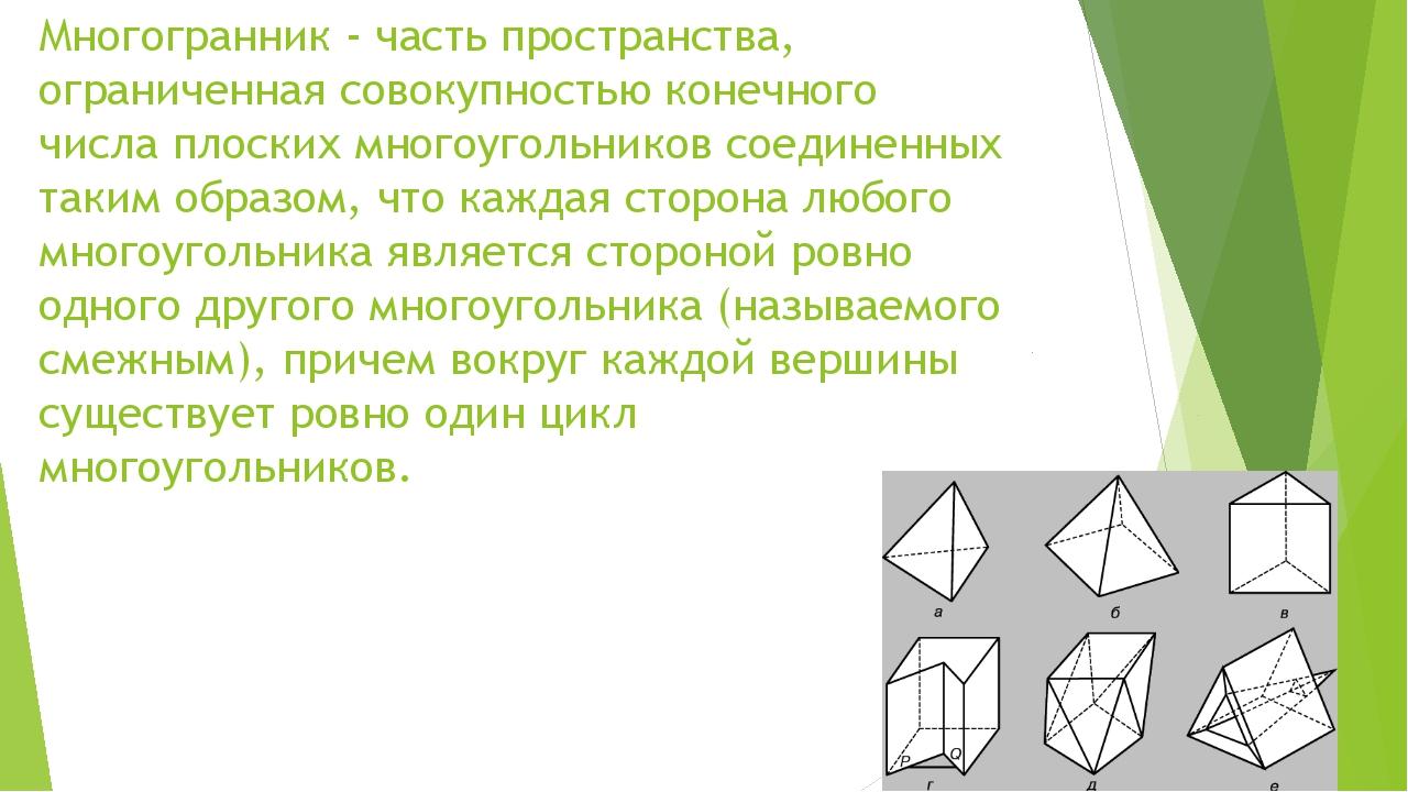 Многогранник - часть пространства, ограниченная совокупностью конечного числа...