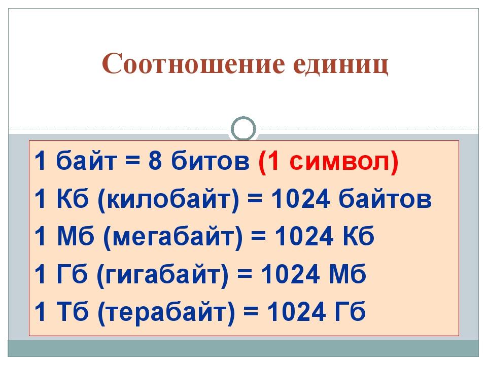 1 байт = 8 битов (1 символ) 1 Кб (килобайт) = 1024 байтов 1 Мб (мегабайт) = 1...