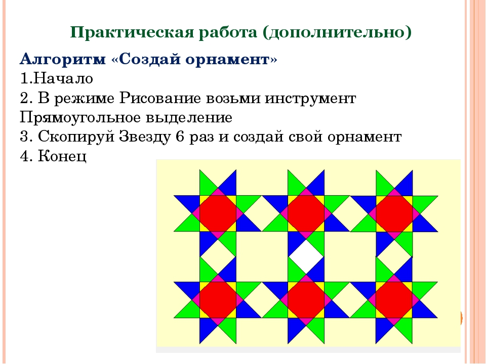 Практическая работа (дополнительно) Алгоритм «Создай орнамент» 1.Начало 2. В...
