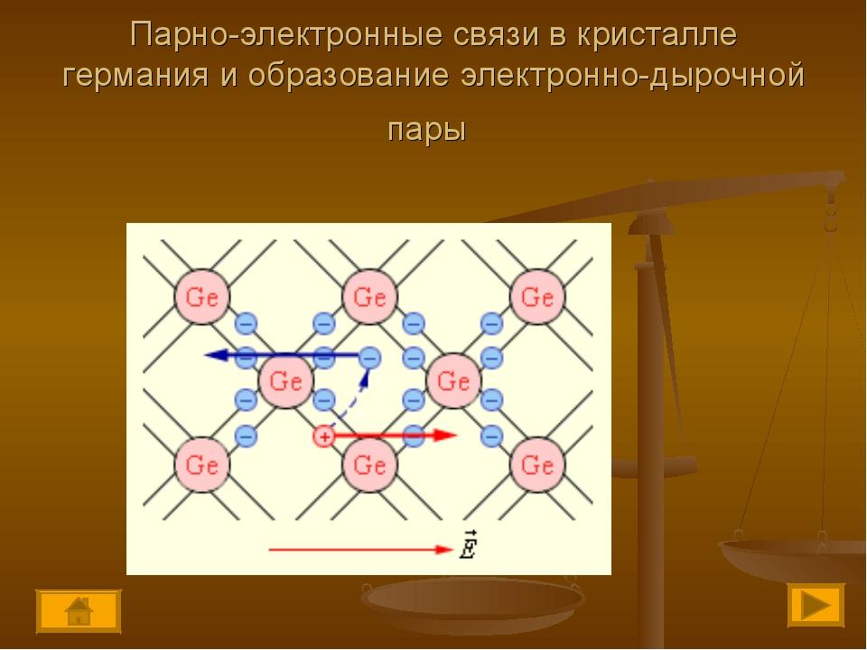 Парно-электронные связи в кристалле германия и образование электронно-дырочно...