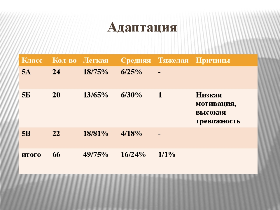 Адаптация Класс Кол-во Легкая Средняя Тяжелая Причины 5А 24 18/75% 6/25% - 5Б...