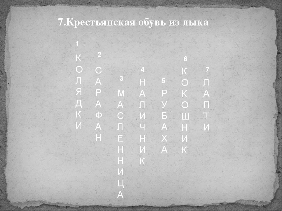 1 2 3 4 5 6 7 К О Л Я Д К И С А Р А Ф А Н Н А Л И Ч Н И К М А С Л Е Н Н И Ц А...