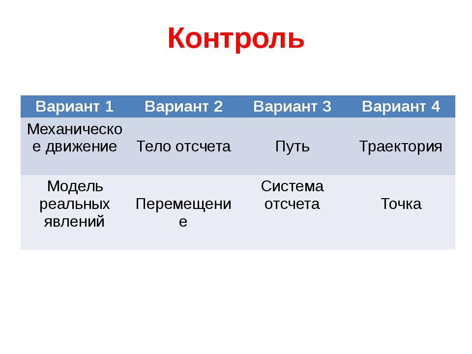 Контроль Вариант1 Вариант 2 Вариант 3 Вариант 4 Механическое движение Тело от...